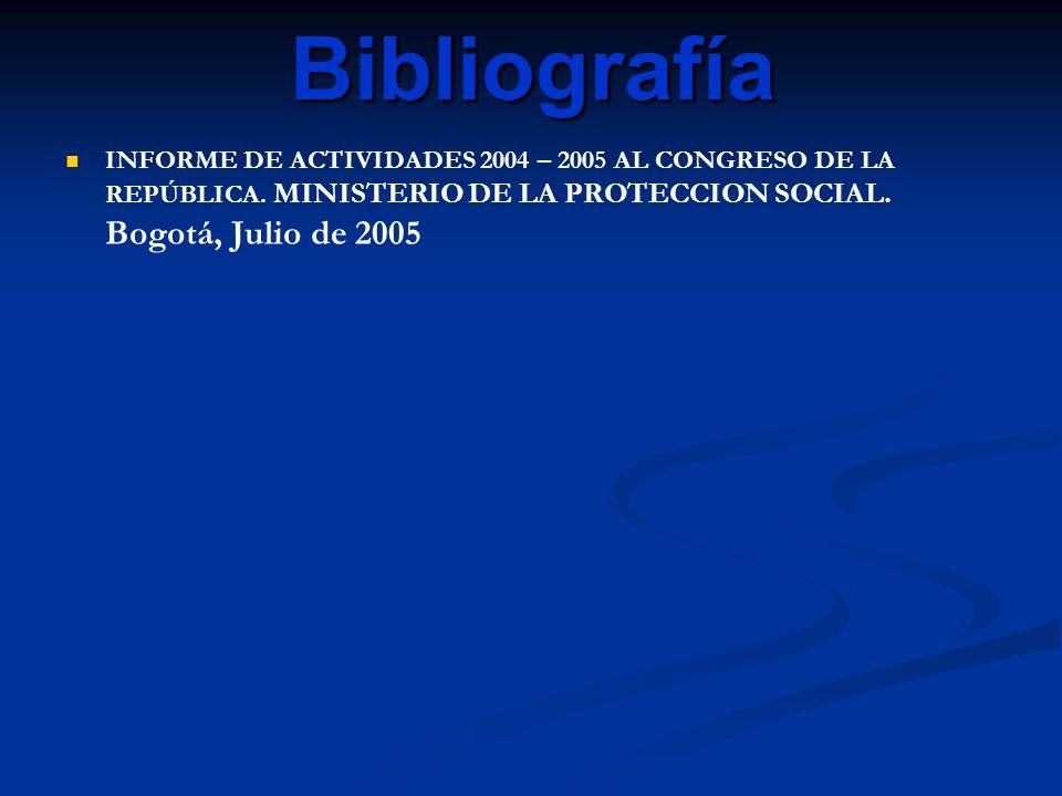 Bibliografía INFORME DE ACTIVIDADES 2004 – 2005 AL CONGRESO DE LA REPÚBLICA.