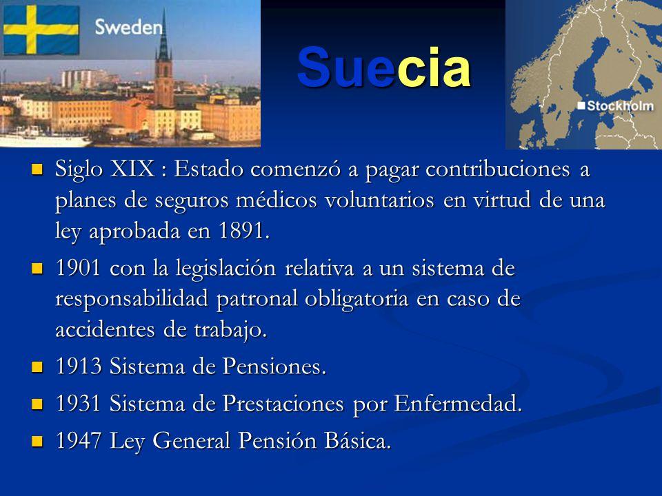 Suecia Siglo XIX : Estado comenzó a pagar contribuciones a planes de seguros médicos voluntarios en virtud de una ley aprobada en 1891.