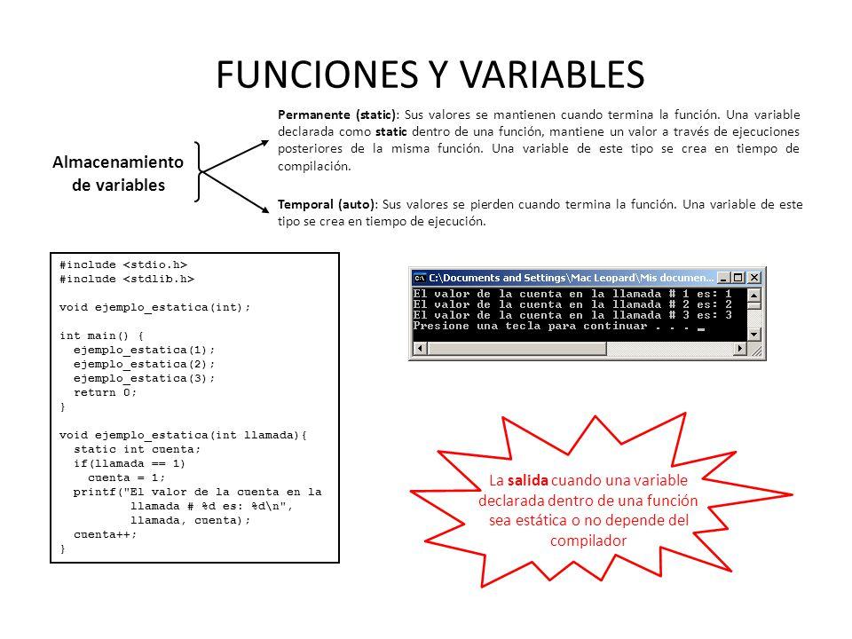 Almacenamiento de variables