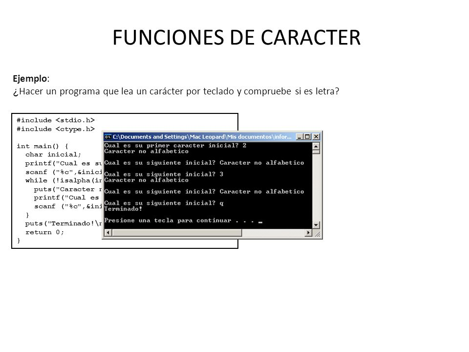 FUNCIONES DE CARACTER Ejemplo: