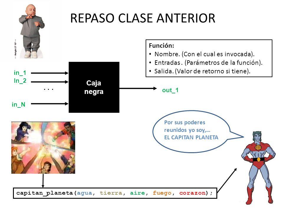 REPASO CLASE ANTERIOR Función: Nombre. (Con el cual es invocada).