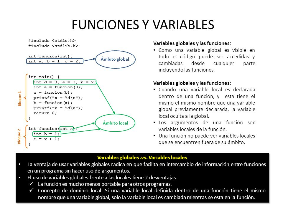Variables globales .vs. Variables locales