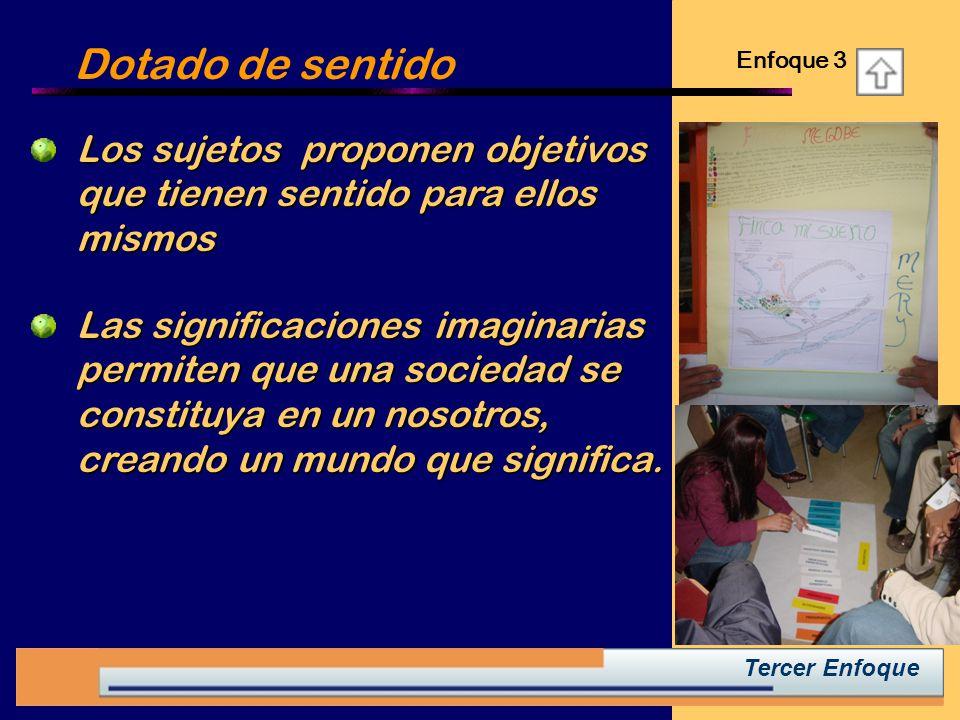 Dotado de sentido Enfoque 3. Los sujetos proponen objetivos que tienen sentido para ellos mismos.