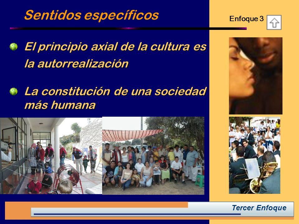 Sentidos específicos Enfoque 3. El principio axial de la cultura es la autorrealización. La constitución de una sociedad más humana.