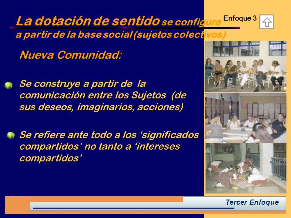 La dotación de sentido se configura a partir de la base social (sujetos colectivos)