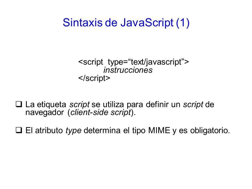 Sintaxis de JavaScript (1)
