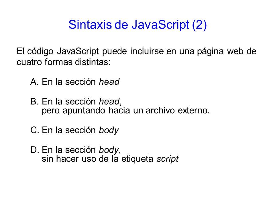 Sintaxis de JavaScript (2)