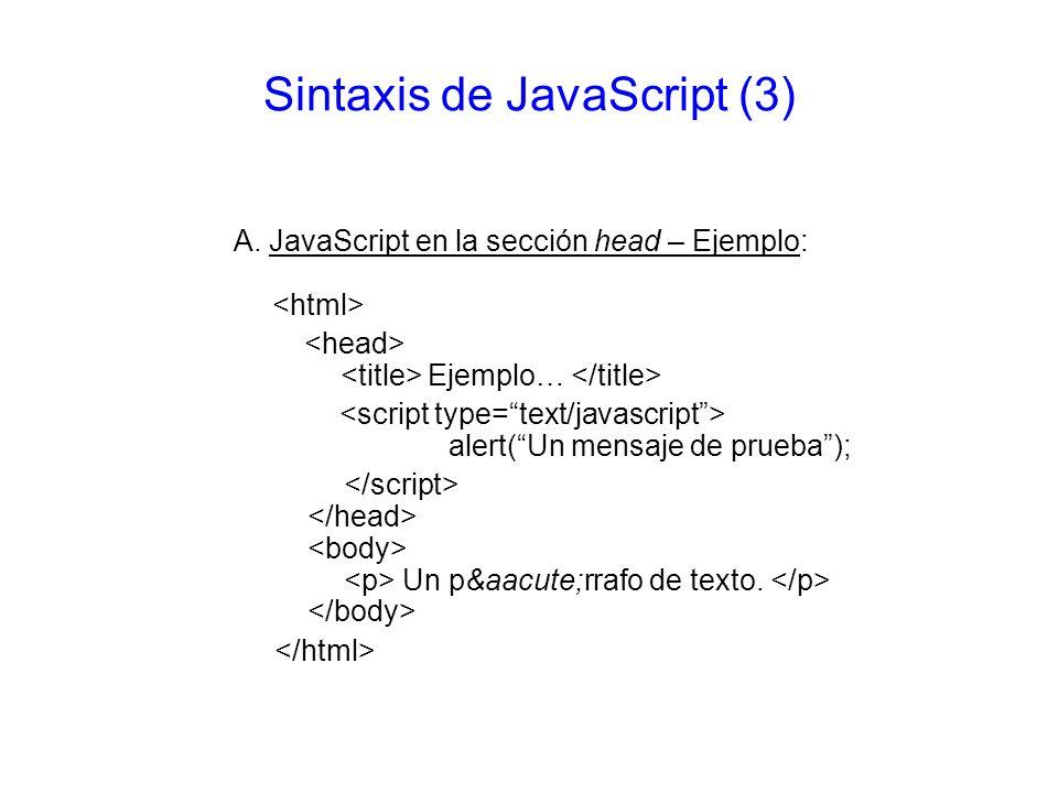 Sintaxis de JavaScript (3)