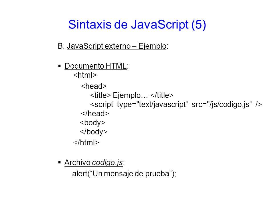 Sintaxis de JavaScript (5)
