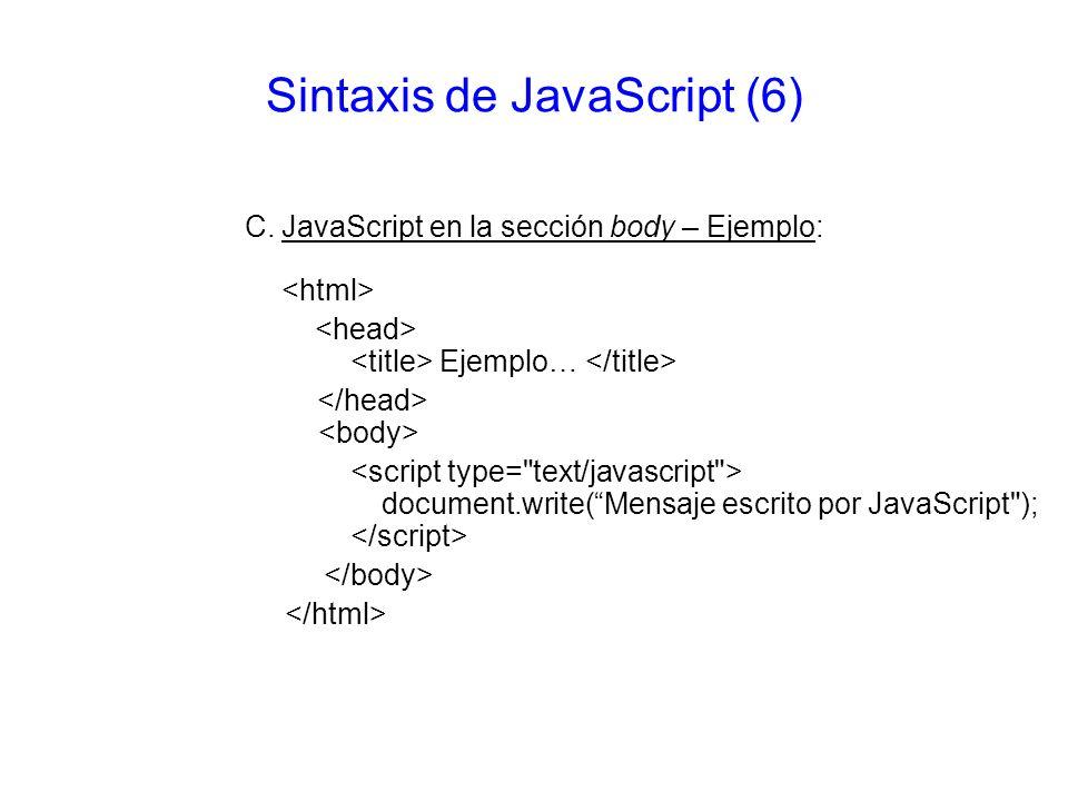 Sintaxis de JavaScript (6)