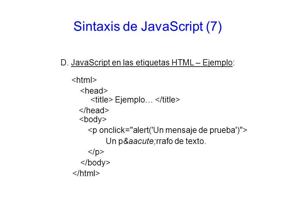 Sintaxis de JavaScript (7)