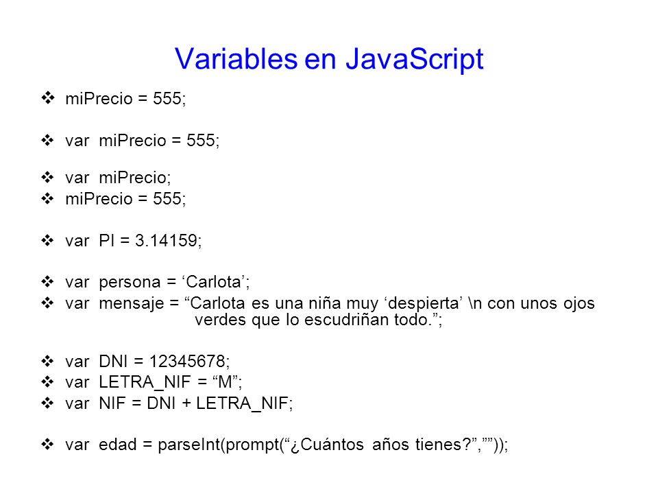 Variables en JavaScript