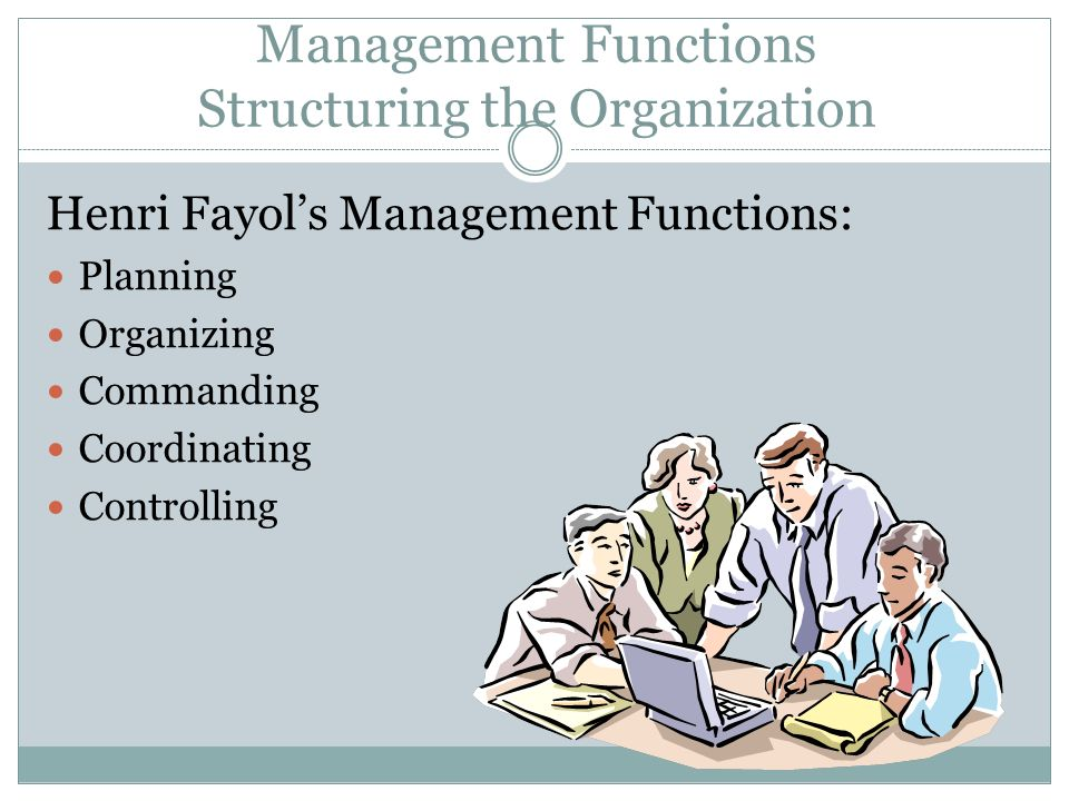 Management Functions Structuring the Organization