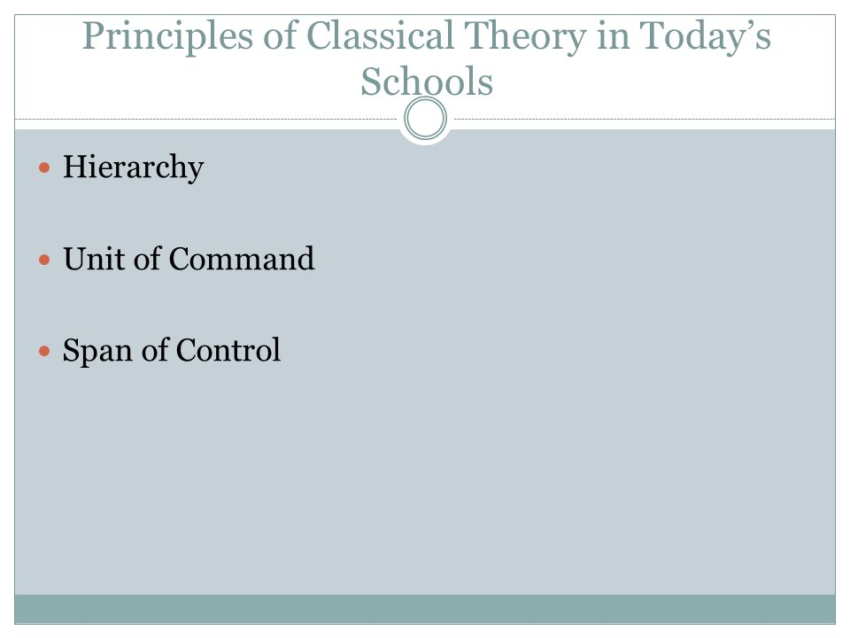 Principles of Classical Theory in Today's Schools