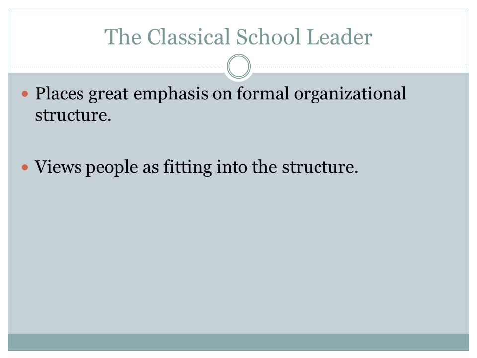 The Classical School Leader
