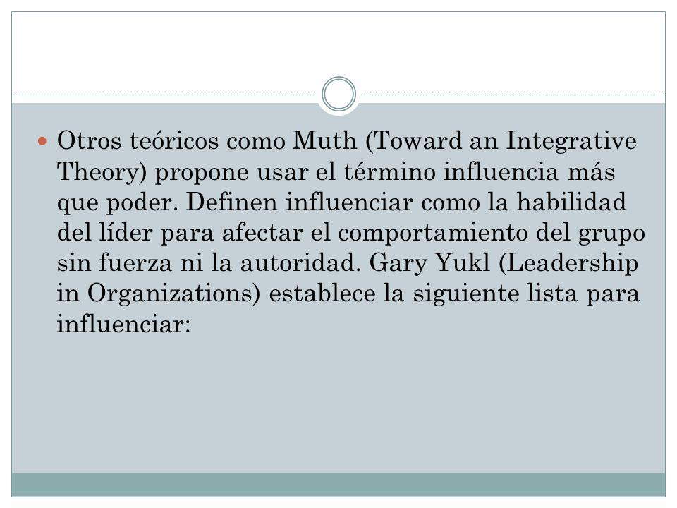 Otros teóricos como Muth (Toward an Integrative Theory) propone usar el término influencia más que poder.