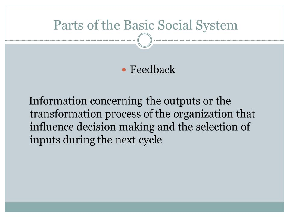 Parts of the Basic Social System