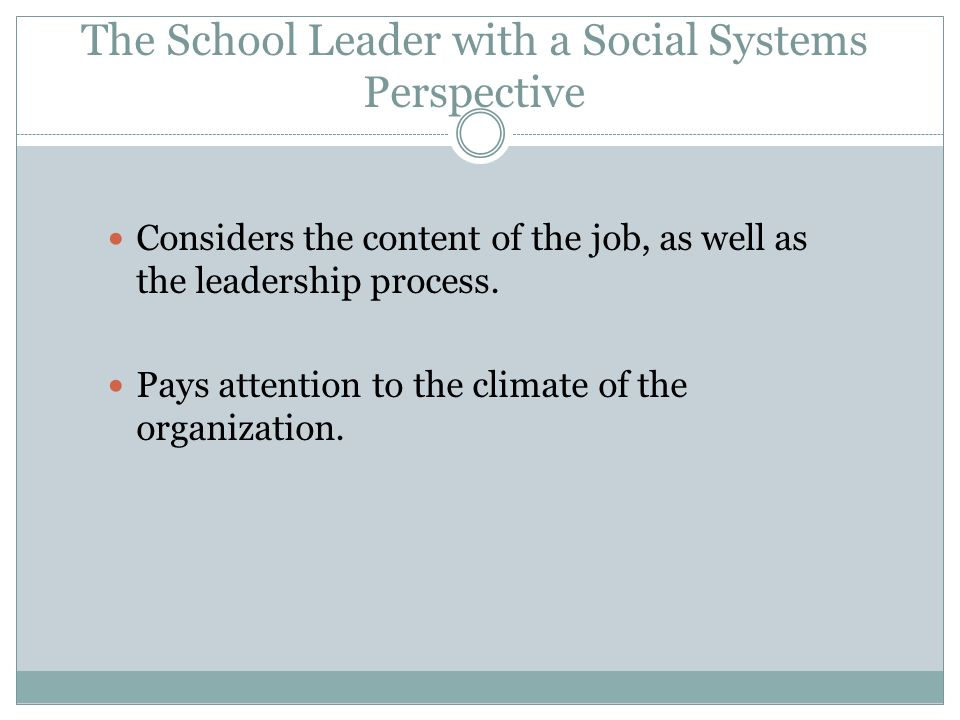 The School Leader with a Social Systems Perspective