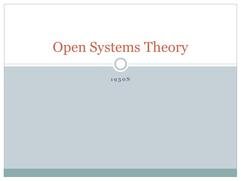 Open Systems Theory 1950s