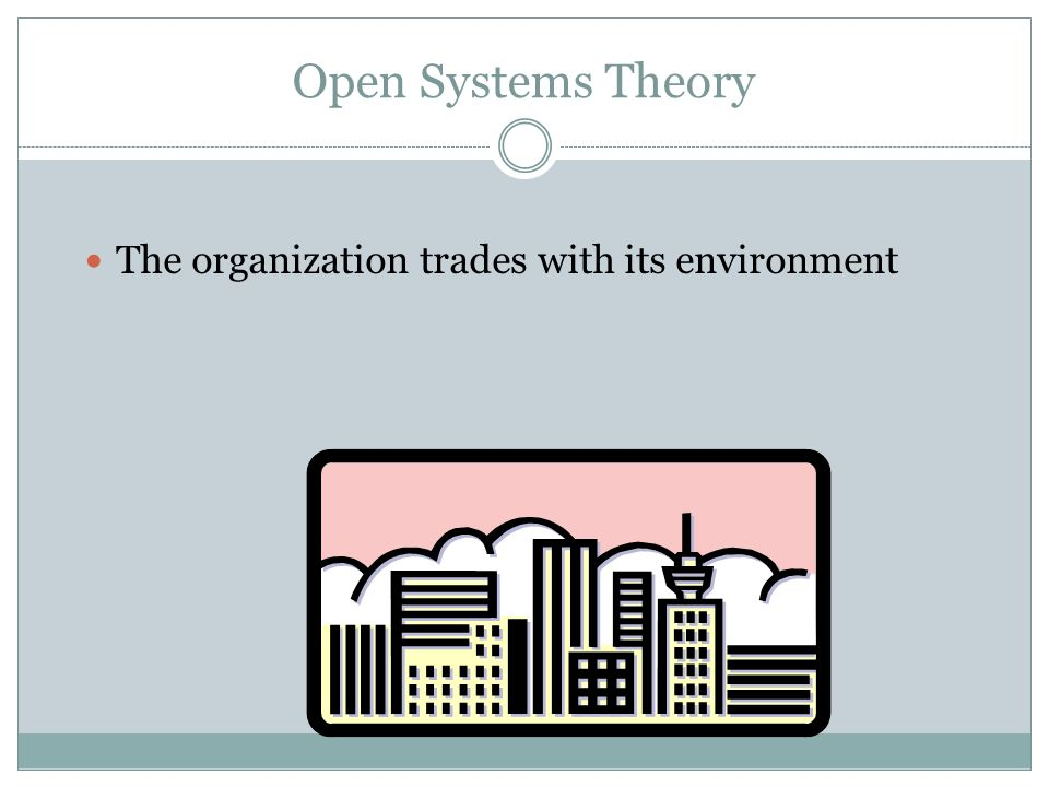 Open Systems Theory The organization trades with its environment