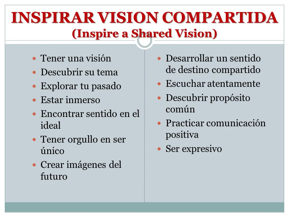 INSPIRAR VISION COMPARTIDA (Inspire a Shared Vision)