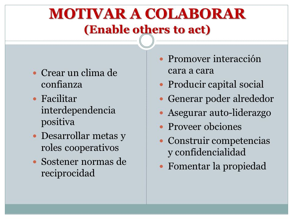 MOTIVAR A COLABORAR (Enable others to act)