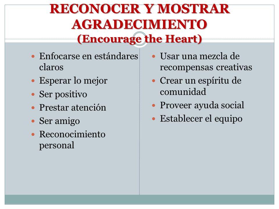 RECONOCER Y MOSTRAR AGRADECIMIENTO (Encourage the Heart)
