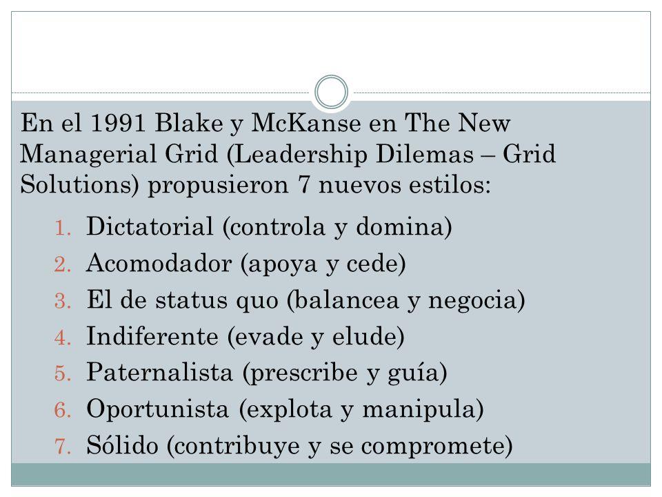 En el 1991 Blake y McKanse en The New Managerial Grid (Leadership Dilemas – Grid Solutions) propusieron 7 nuevos estilos: