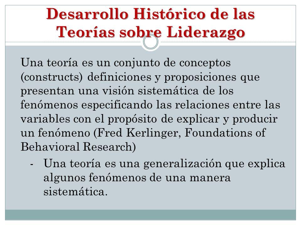 Desarrollo Histórico de las Teorías sobre Liderazgo