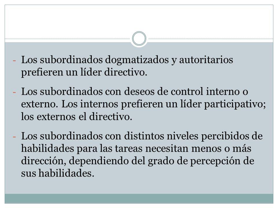 Los subordinados dogmatizados y autoritarios prefieren un líder directivo.
