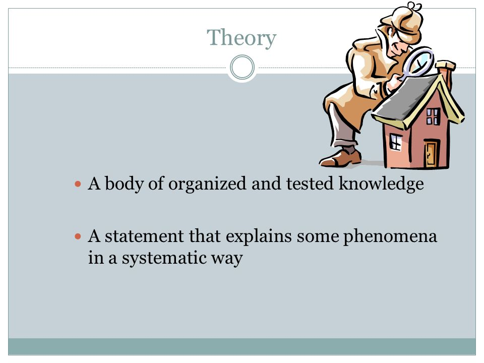Theory A body of organized and tested knowledge