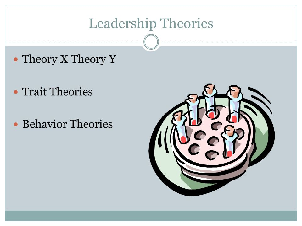 Leadership Theories Theory X Theory Y Trait Theories Behavior Theories
