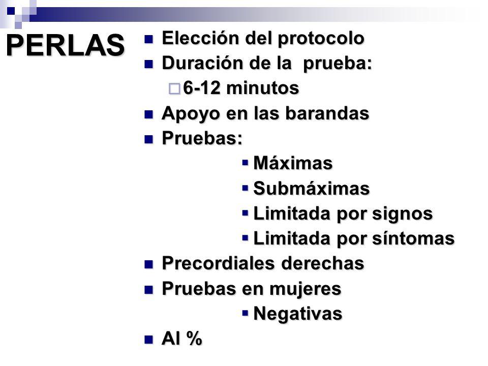 PERLAS Elección del protocolo Duración de la prueba: 6-12 minutos