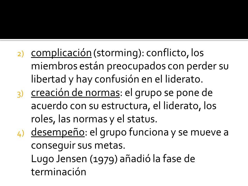 complicación (storming): conflicto, los miembros están preocupados con perder su libertad y hay confusión en el liderato.