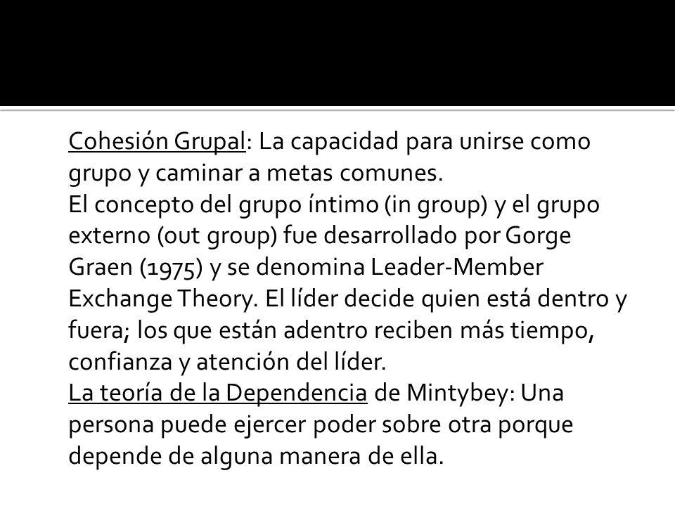 Cohesión Grupal: La capacidad para unirse como grupo y caminar a metas comunes.