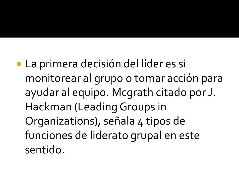 La primera decisión del líder es si monitorear al grupo o tomar acción para ayudar al equipo.