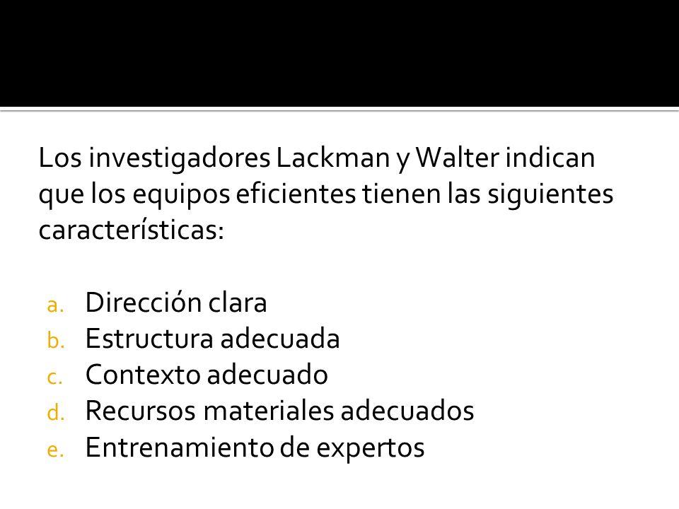 Los investigadores Lackman y Walter indican que los equipos eficientes tienen las siguientes características: