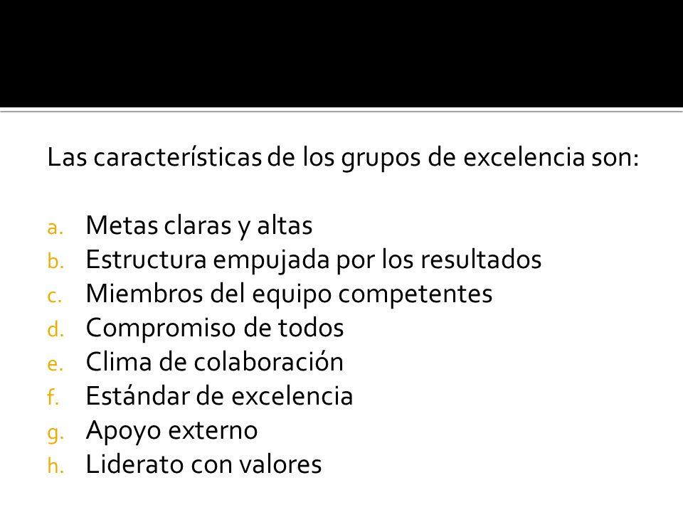 Las características de los grupos de excelencia son: