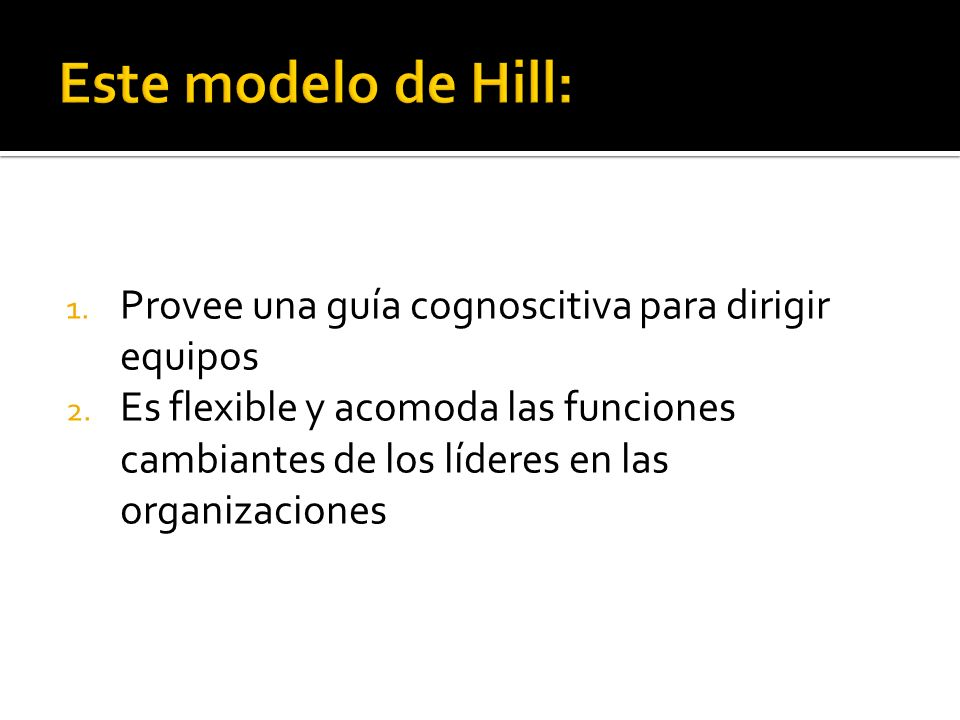 Este modelo de Hill: Provee una guía cognoscitiva para dirigir equipos