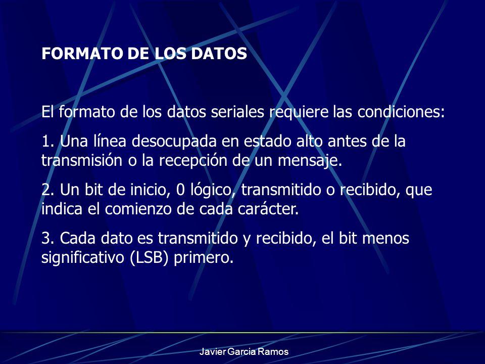 El formato de los datos seriales requiere las condiciones:
