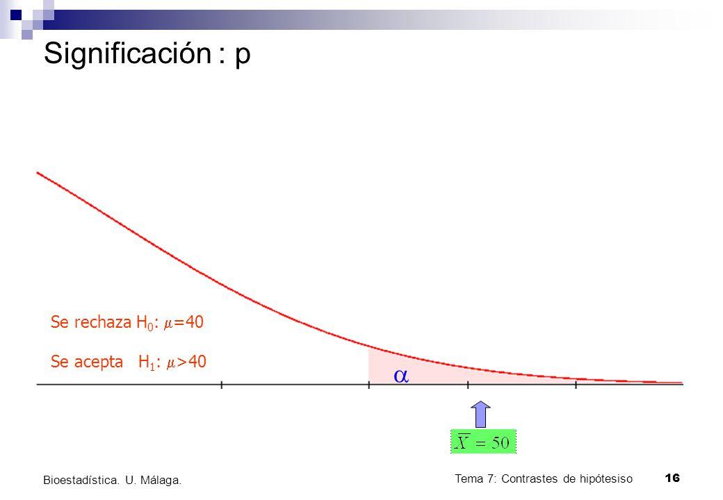 Significación : p a Se rechaza H0: m=40 Se acepta H1: m>40