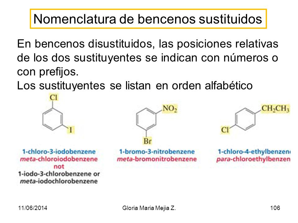 Nomenclatura de bencenos sustituidos