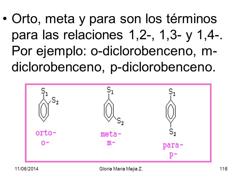 Orto, meta y para son los términos para las relaciones 1,2-, 1,3- y 1,4-. Por ejemplo: o-diclorobenceno, m-diclorobenceno, p-diclorobenceno.