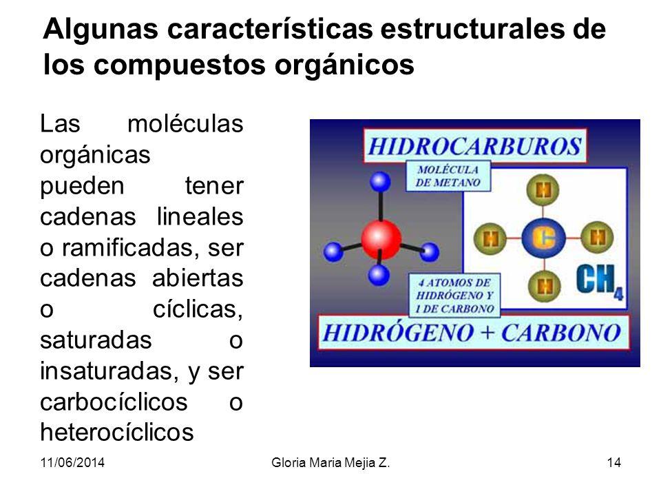 Algunas características estructurales de los compuestos orgánicos