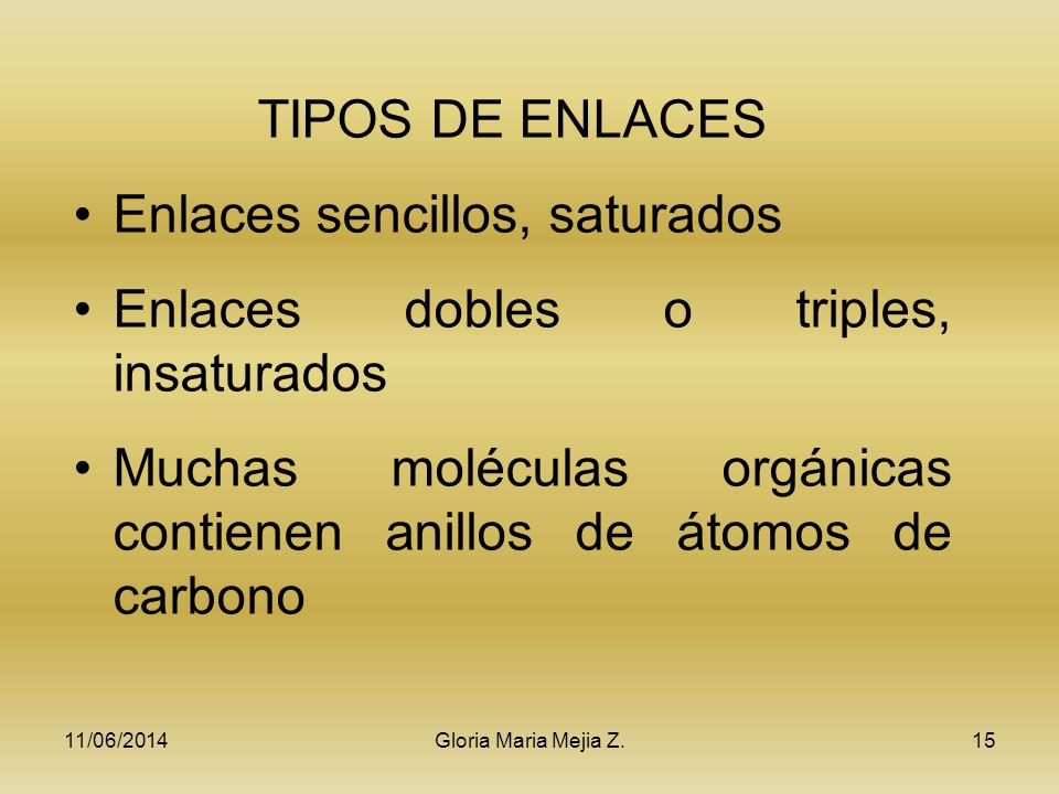 Enlaces sencillos, saturados Enlaces dobles o triples, insaturados