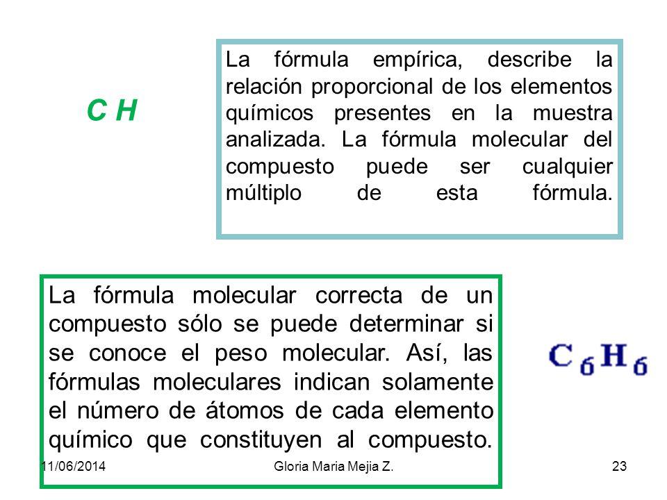 La fórmula empírica, describe la relación proporcional de los elementos químicos presentes en la muestra analizada. La fórmula molecular del compuesto puede ser cualquier múltiplo de esta fórmula.