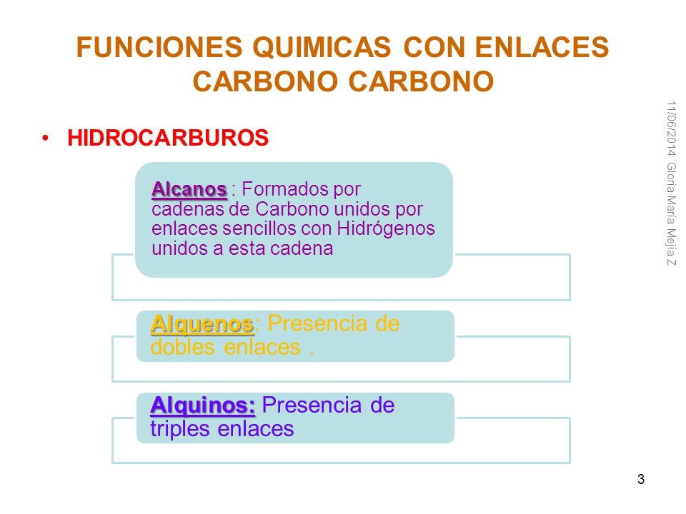 FUNCIONES QUIMICAS CON ENLACES CARBONO CARBONO