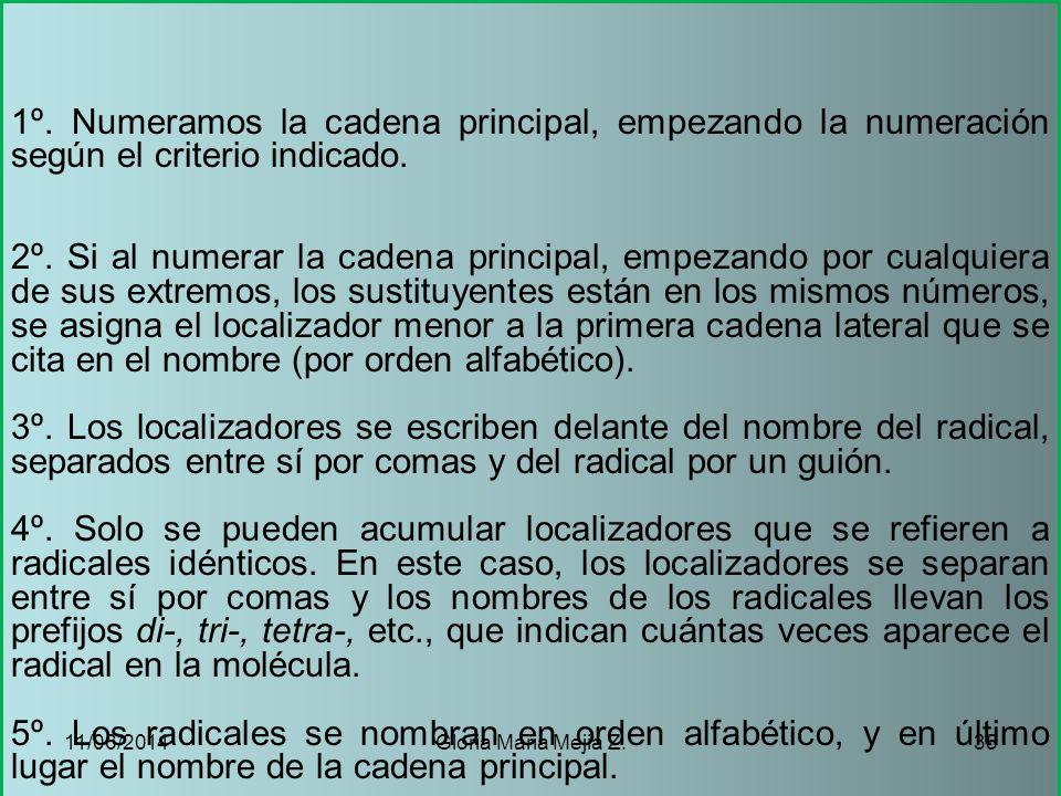 1º. Numeramos la cadena principal, empezando la numeración según el criterio indicado.