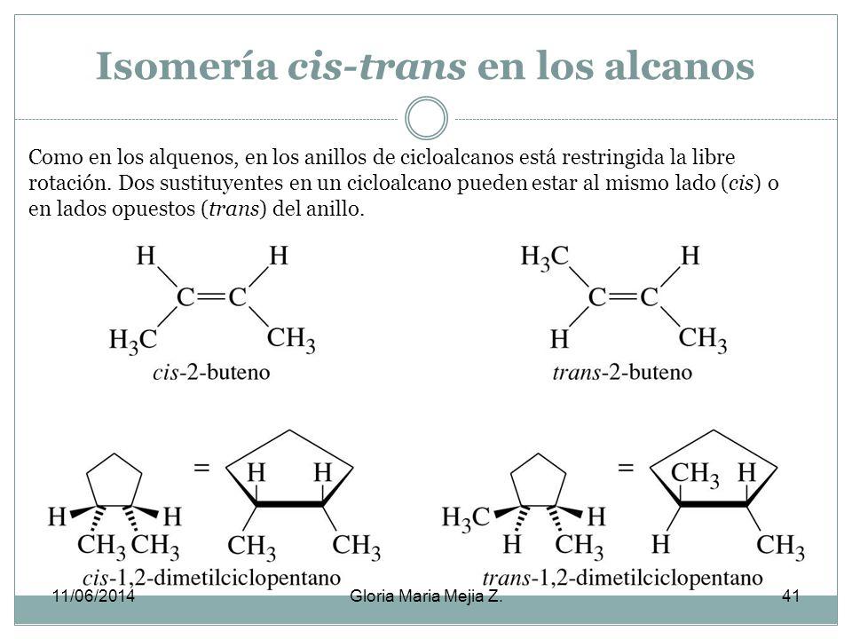 Isomería cis-trans en los alcanos
