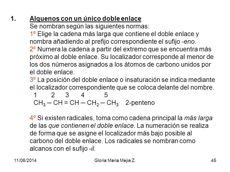 Alquenos con un único doble enlace Se nombran según las siguientes normas: 1º Elige la cadena más larga que contiene el doble enlace y nombra añadiendo al prefijo correspondiente el sufijo -eno. 2º Numera la cadena a partir del extremo que se encuentra más próximo al doble enlace. Su localizador corresponde al menor de los dos números asignados a los átomos de carbono unidos por el doble enlace. 3º La posición del doble enlace o insaturación se indica mediante el localizador correspondiente que se coloca delante del nombre. 1 2 3 4 5 CH3 ─ CH = CH ─ CH2 ─ CH3 2-penteno 4º Si existen radicales, toma como cadena principal la más larga de las que contienen el doble enlace. La numeración se realiza de forma que se asigne el localizador más bajo posible al carbono del doble enlace. Los radicales se nombran como alcanos con el sufijo -il.